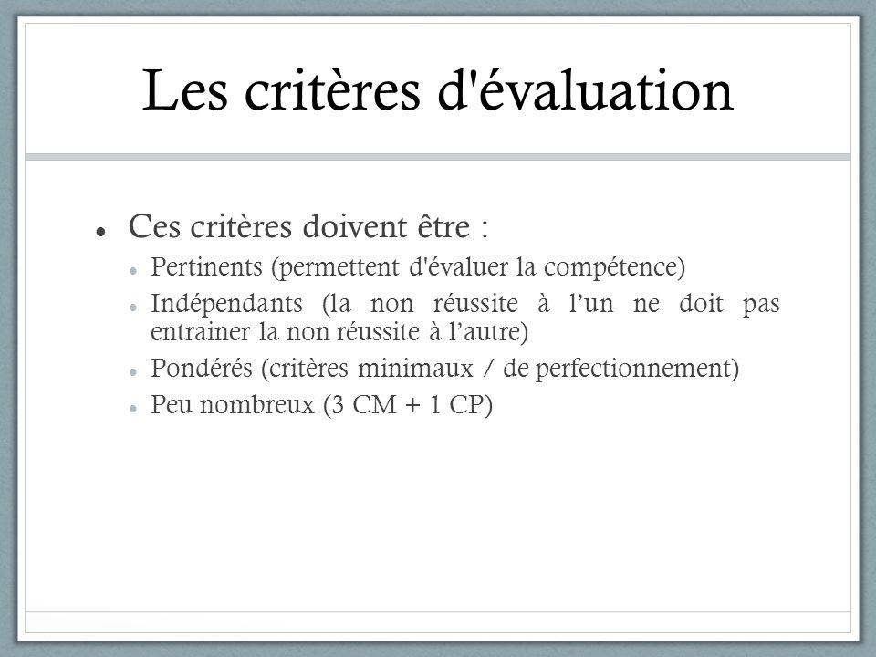 Les critères d'évaluation Ces critères doivent être : Pertinents (permettent d'évaluer la compétence) Indépendants (la non réussite à lun ne doit pas