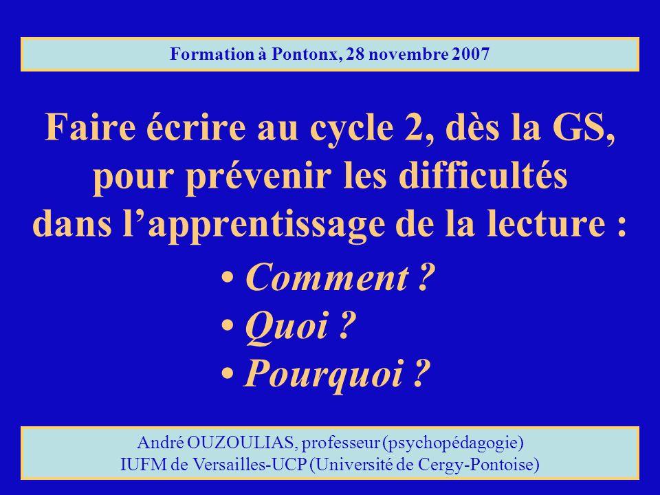 Faire écrire au cycle 2, dès la GS, pour prévenir les difficultés dans lapprentissage de la lecture : Formation à Pontonx, 28 novembre 2007 Comment ?
