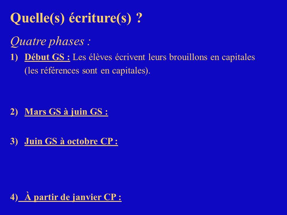 Quelle(s) écriture(s) ? Quatre phases : 1)Début GS : Les élèves écrivent leurs brouillons en capitales (les références sont en capitales). 2)Mars GS à