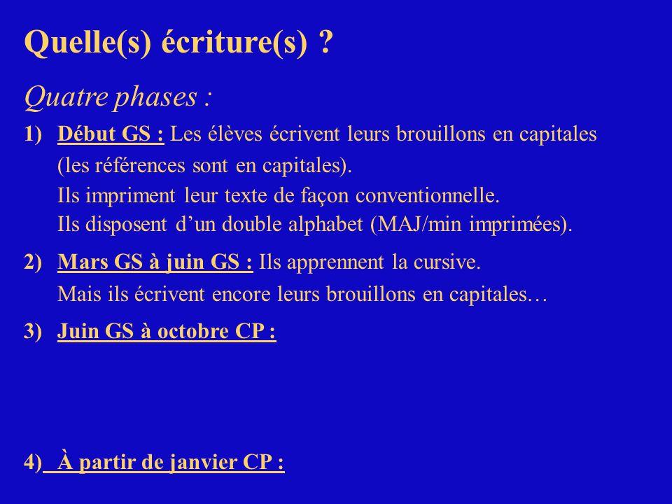 Quelle(s) écriture(s) ? Quatre phases : 1)Début GS : Les élèves écrivent leurs brouillons en capitales (les références sont en capitales). Ils imprime