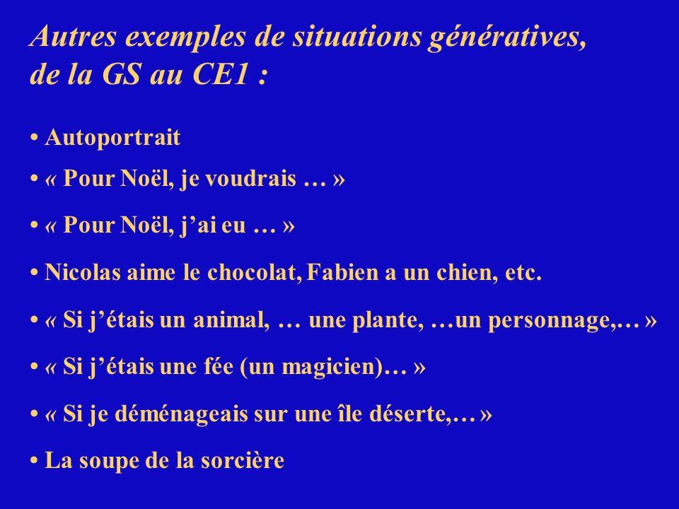 Autres exemples de situations génératives, de la GS au CE1 : Autoportrait « Pour Noël, je voudrais … » « Pour Noël, jai eu … » Nicolas aime le chocola