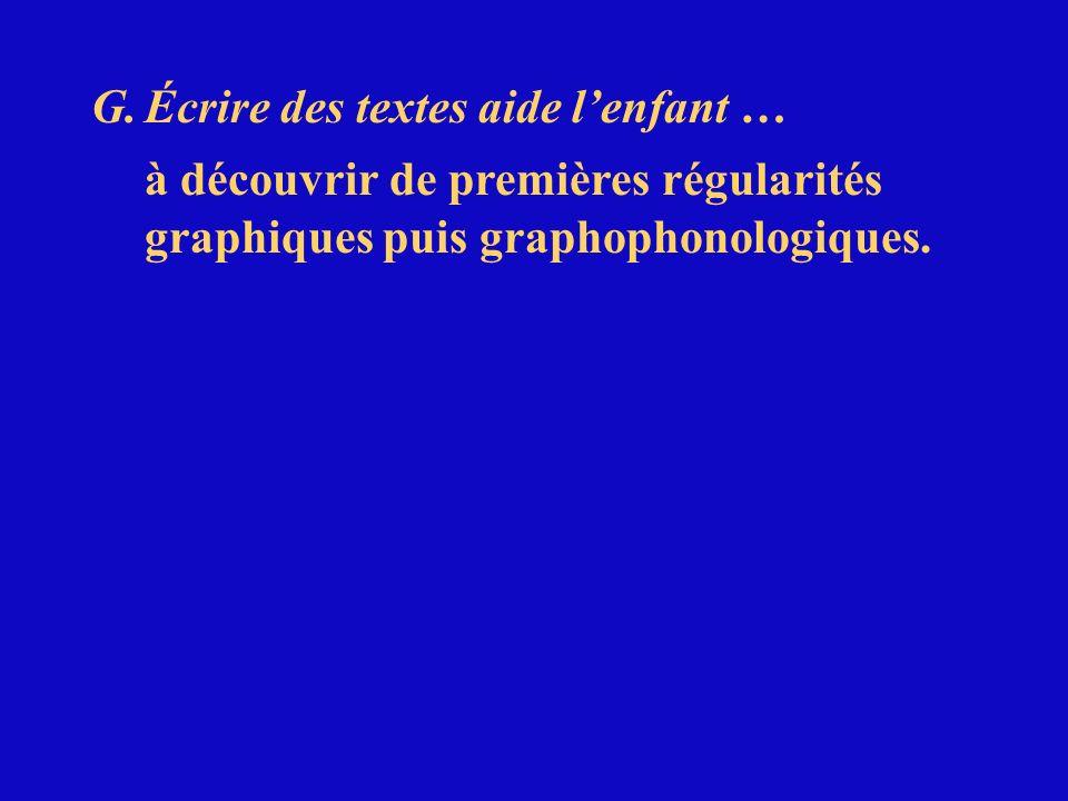 G.Écrire des textes aide lenfant … à découvrir de premières régularités graphiques puis graphophonologiques.