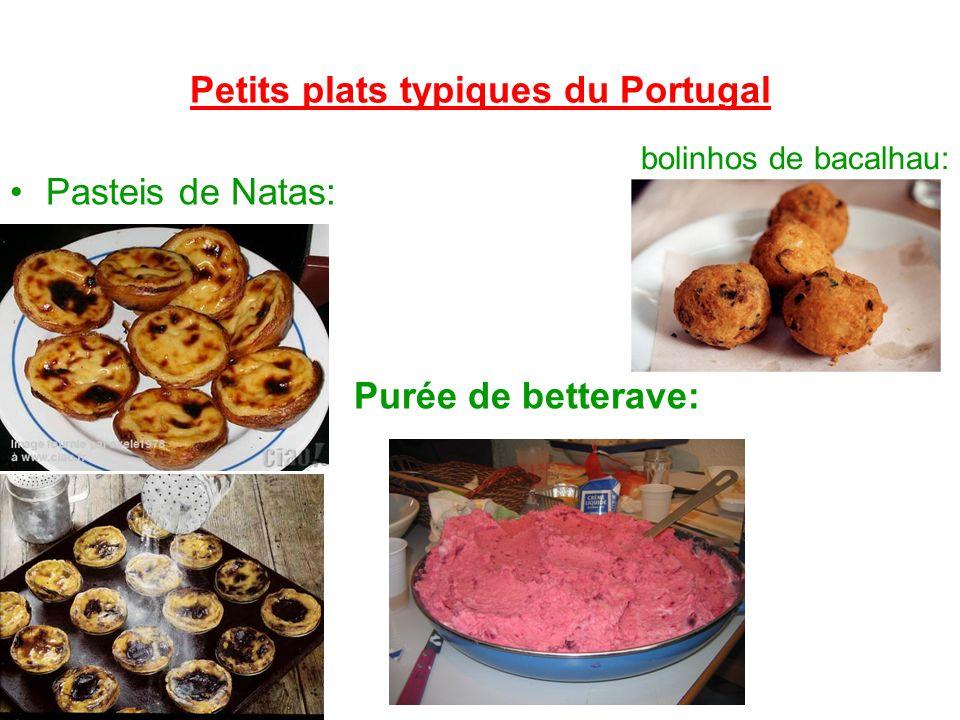 Petits plats typiques du Portugal Pasteis de Natas: bolinhos de bacalhau: Purée de betterave: