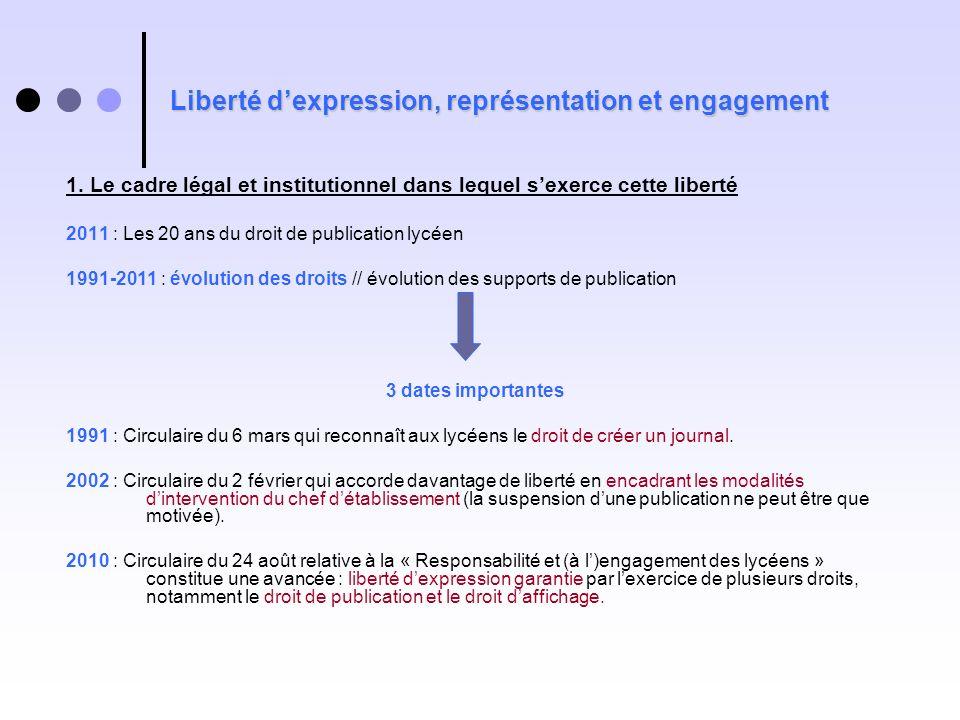 Liberté dexpression, représentation et engagement 1. Le cadre légal et institutionnel dans lequel sexerce cette liberté 2011 : Les 20 ans du droit de