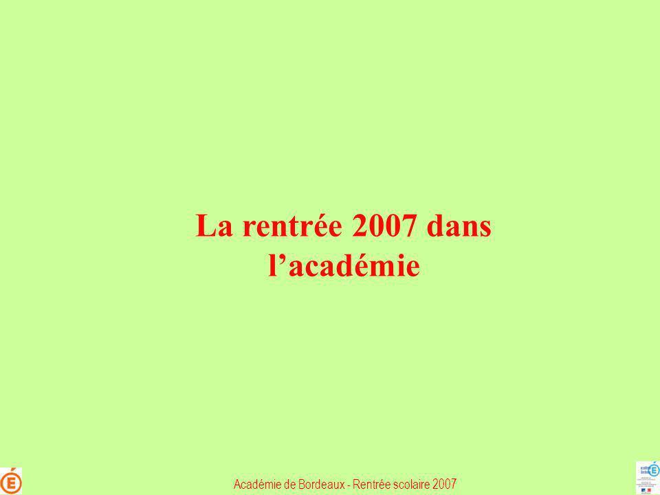 La rentrée 2007 dans lacadémie Académie de Bordeaux - Rentrée scolaire 2007