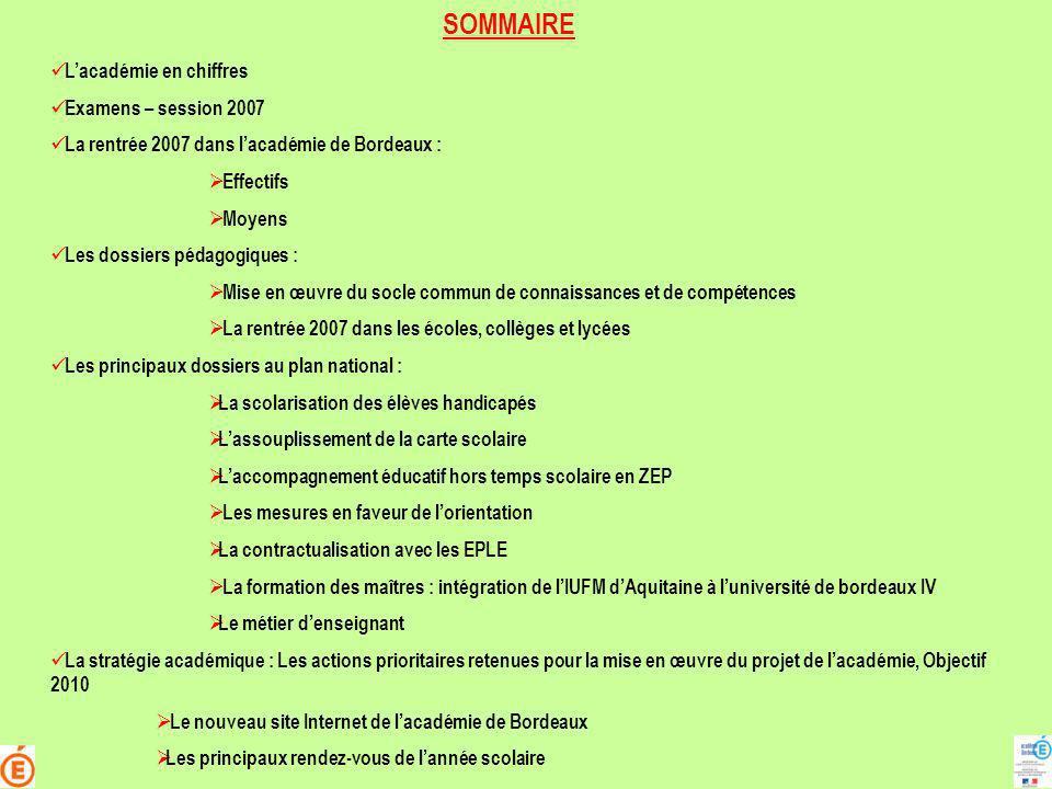 SOMMAIRE Lacadémie en chiffres Examens – session 2007 La rentrée 2007 dans lacadémie de Bordeaux : Effectifs Moyens Les dossiers pédagogiques : Mise e