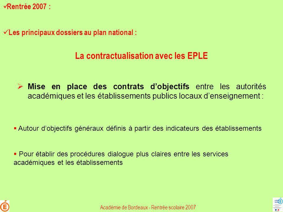 La contractualisation avec les EPLE Mise en place des contrats dobjectifs entre les autorités académiques et les établissements publics locaux denseig