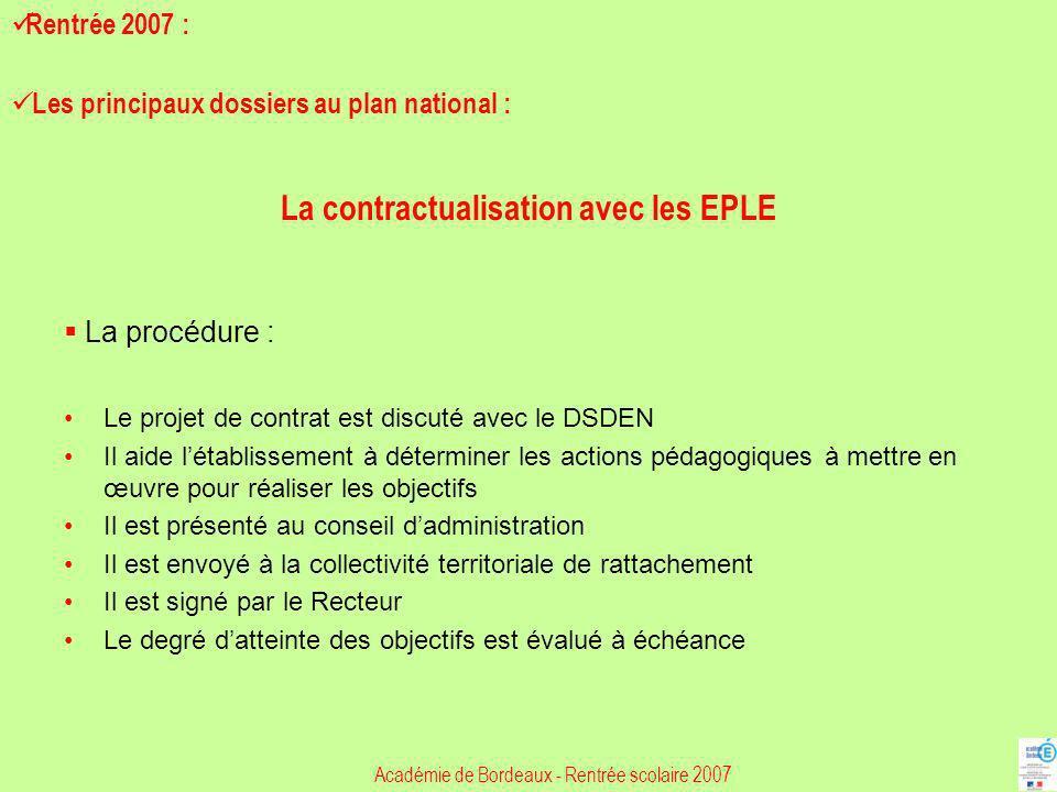 La procédure : Le projet de contrat est discuté avec le DSDEN Il aide létablissement à déterminer les actions pédagogiques à mettre en œuvre pour réal