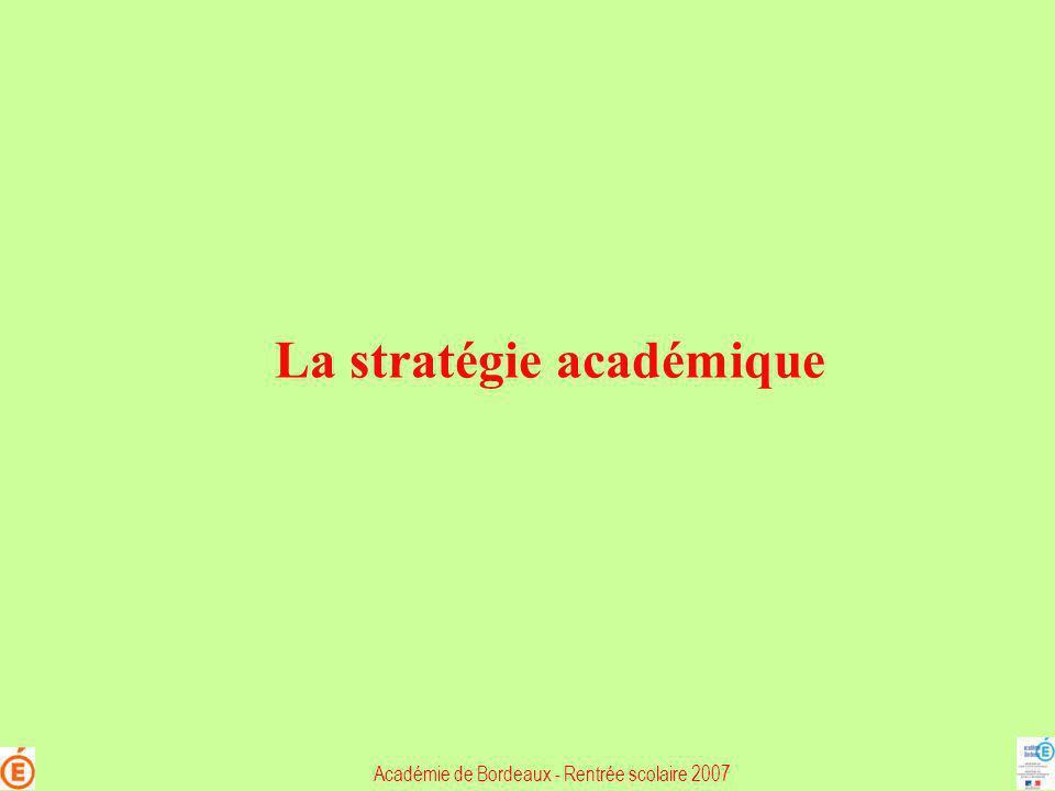 La stratégie académique Académie de Bordeaux - Rentrée scolaire 2007