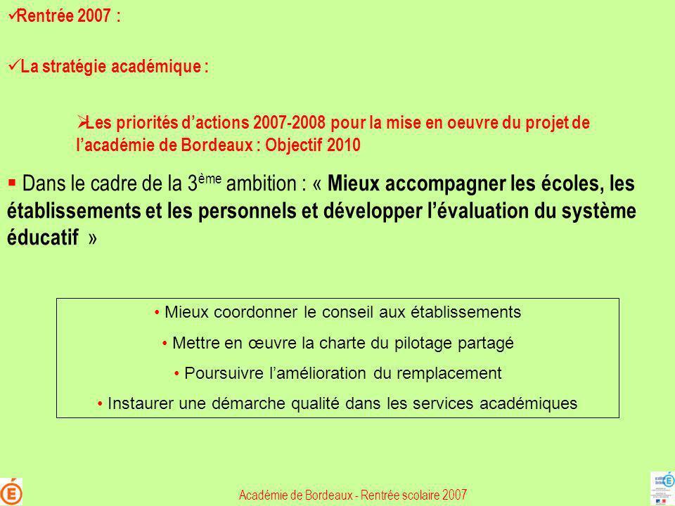 Académie de Bordeaux - Rentrée scolaire 2007 Les priorités dactions 2007-2008 pour la mise en oeuvre du projet de lacadémie de Bordeaux : Objectif 201
