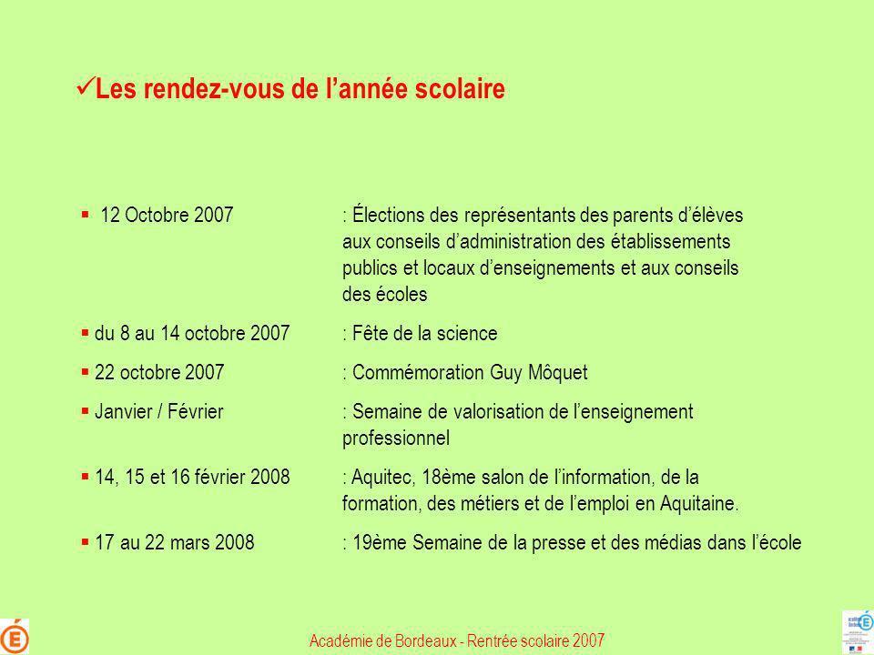 Les rendez-vous de lannée scolaire 12 Octobre 2007: Élections des représentants des parents délèves aux conseils dadministration des établissements pu