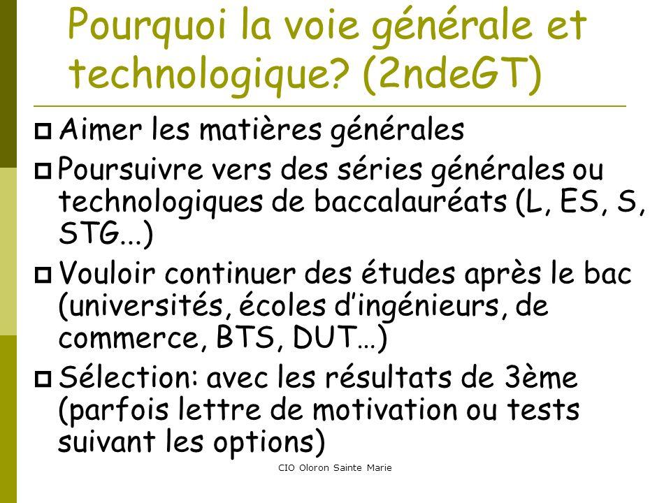 CIO Oloron Sainte Marie Pourquoi la voie générale et technologique? (2ndeGT) Aimer les matières générales Poursuivre vers des séries générales ou tech