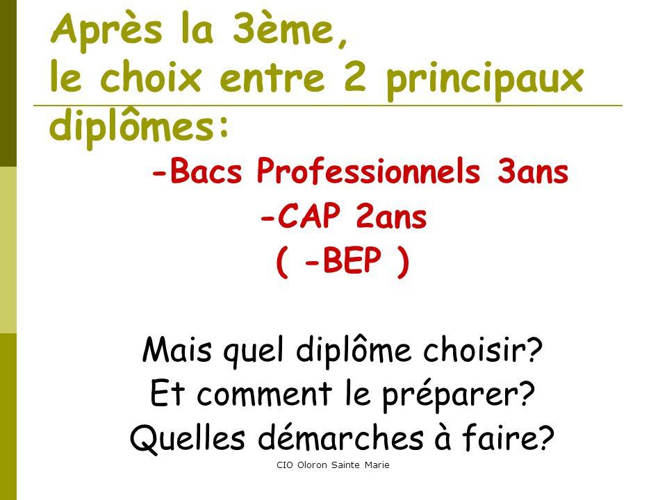 CIO Oloron Sainte Marie Après la 3ème, le choix entre 2 principaux diplômes: -Bacs Professionnels 3ans -CAP 2ans ( -BEP ) Mais quel diplôme choisir? E
