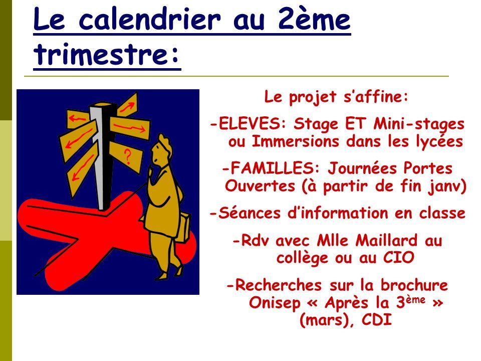 Le calendrier au 2ème trimestre: Le projet saffine: -ELEVES: Stage ET Mini-stages ou Immersions dans les lycées -FAMILLES: Journées Portes Ouvertes (à