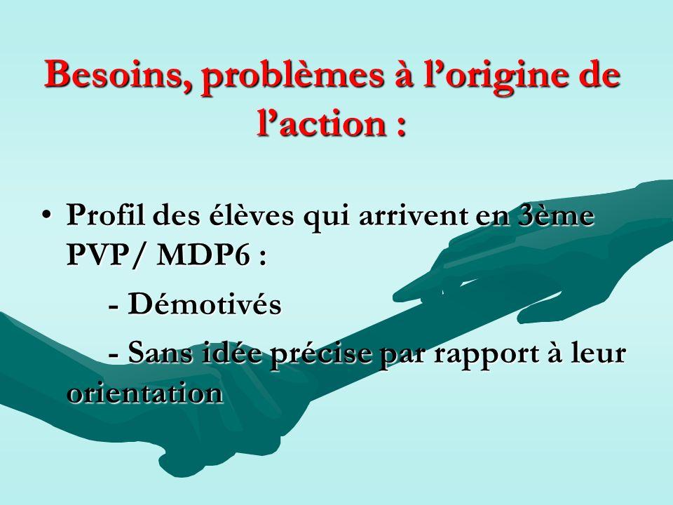 Besoins, problèmes à lorigine de laction : Profil des élèves qui arrivent en 3ème PVP/ MDP6 :Profil des élèves qui arrivent en 3ème PVP/ MDP6 : - Démo