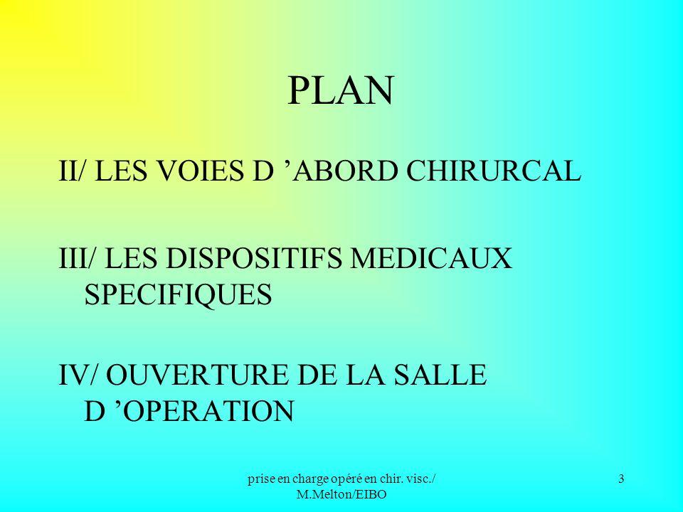 prise en charge opéré en chir. visc./ M.Melton/EIBO 2 I/ GENERALITES A / LES ORGANES CONCERNES par la chirurgie viscérale B / CLASSIFICATION DES INTER