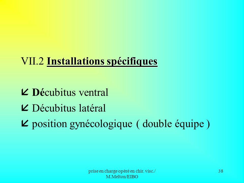 prise en charge opéré en chir. visc./ M.Melton/EIBO 37 VII/ LES PRINCIPALES INSTALLATIONS L installation standard VII.1 L installation standard Décubi