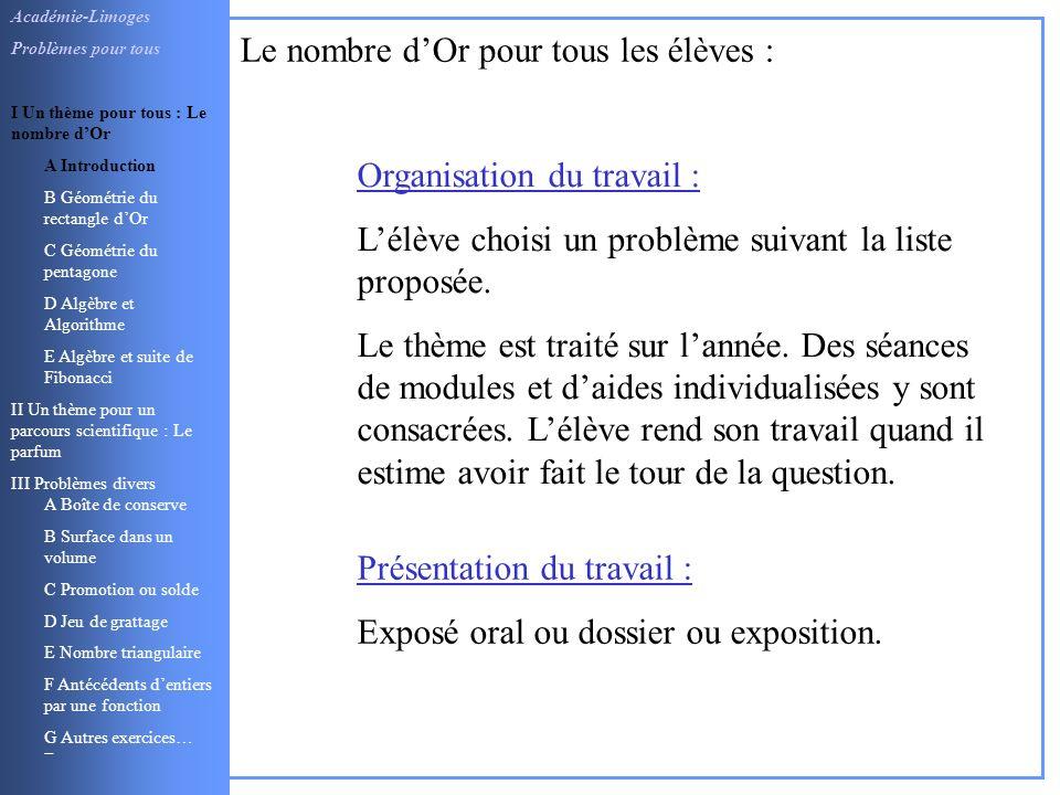 Organisation du travail : Lélève choisi un problème suivant la liste proposée. Le thème est traité sur lannée. Des séances de modules et daides indivi