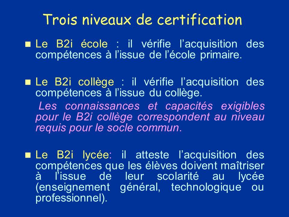 Trois niveaux de certification Le B2i école : il vérifie lacquisition des compétences à lissue de lécole primaire.