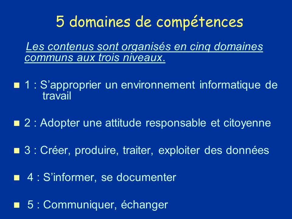5 domaines de compétences Les contenus sont organisés en cinq domaines communs aux trois niveaux.Les contenus sont organisés en cinq domaines communs aux trois niveaux.