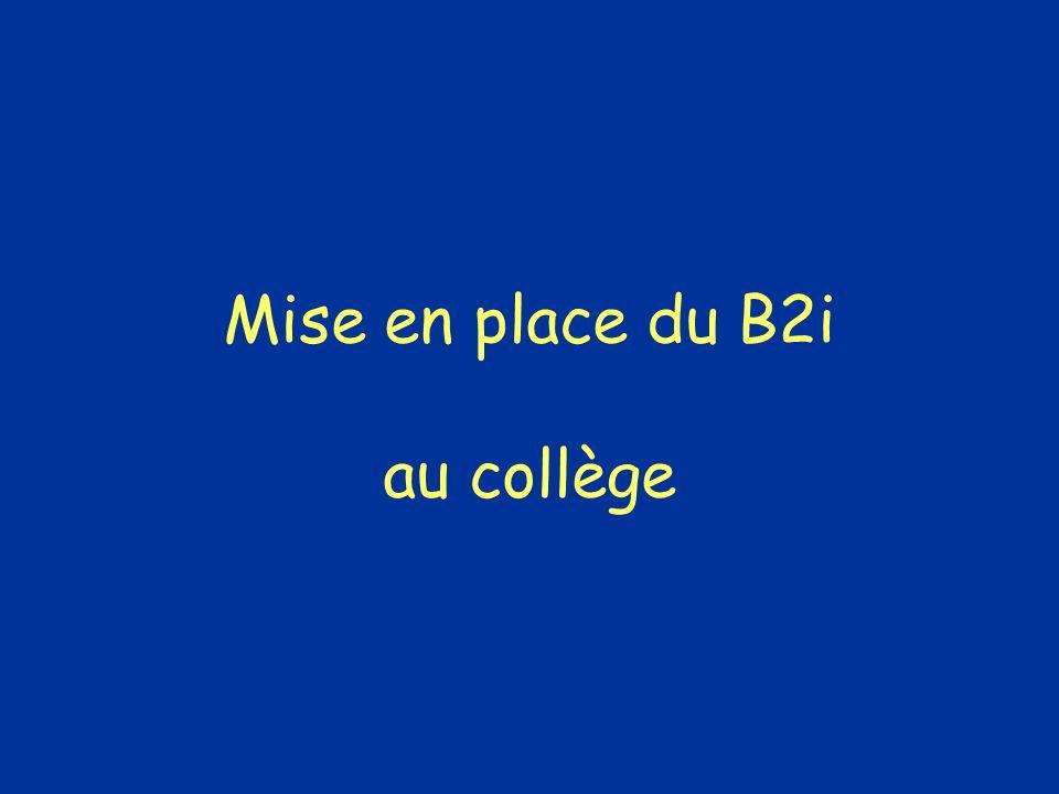 Mise en place du B2i au collège