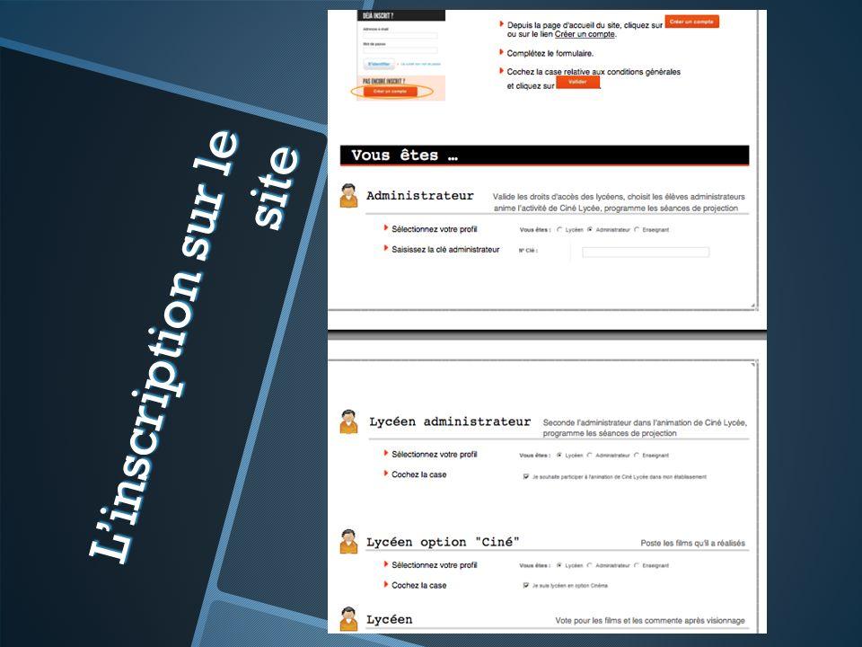 Linscription sur le site