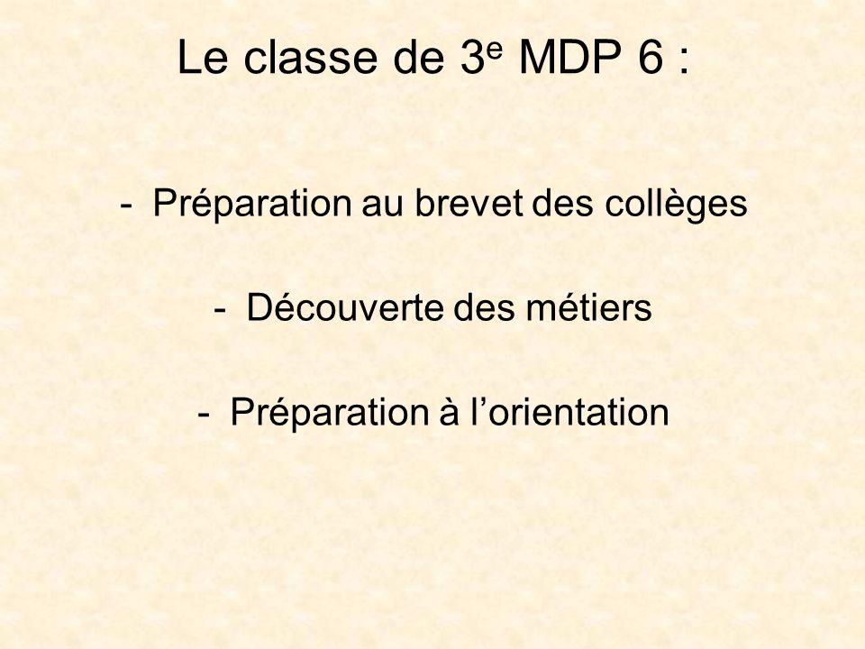 La formation Programme des classes de 3 e Enseignement professionnel 2 semaines de stages en entreprise