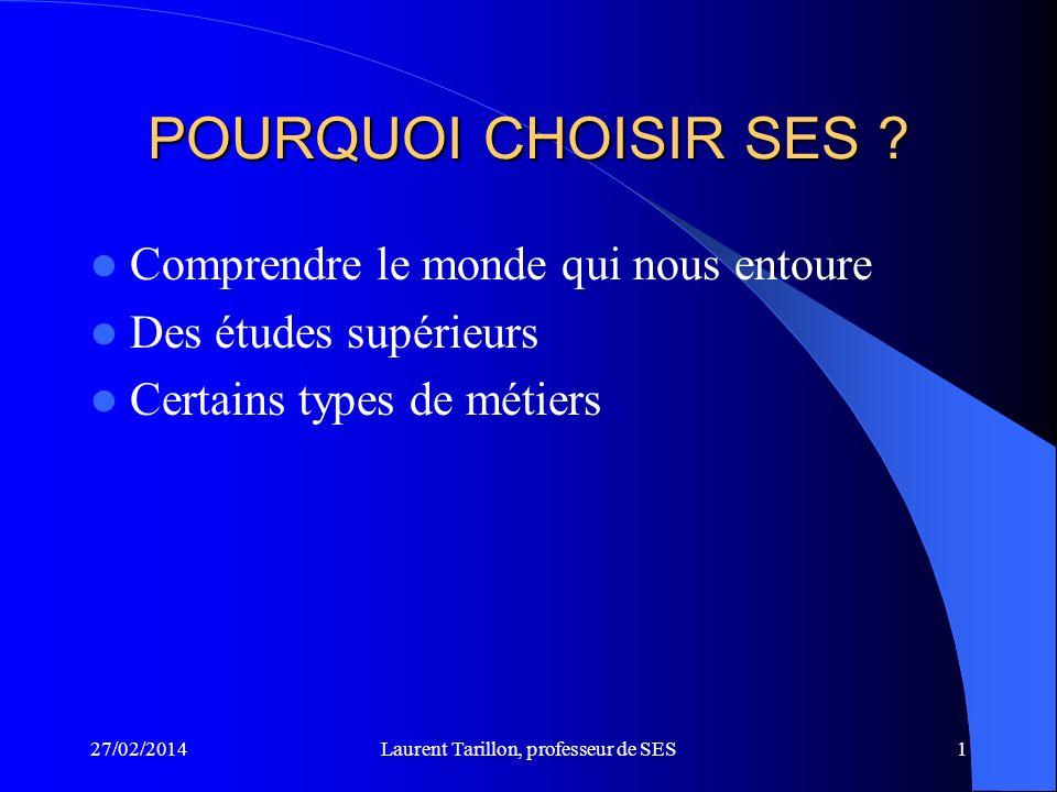 27/02/2014Laurent Tarillon, professeur de SES1 POURQUOI CHOISIR SES .