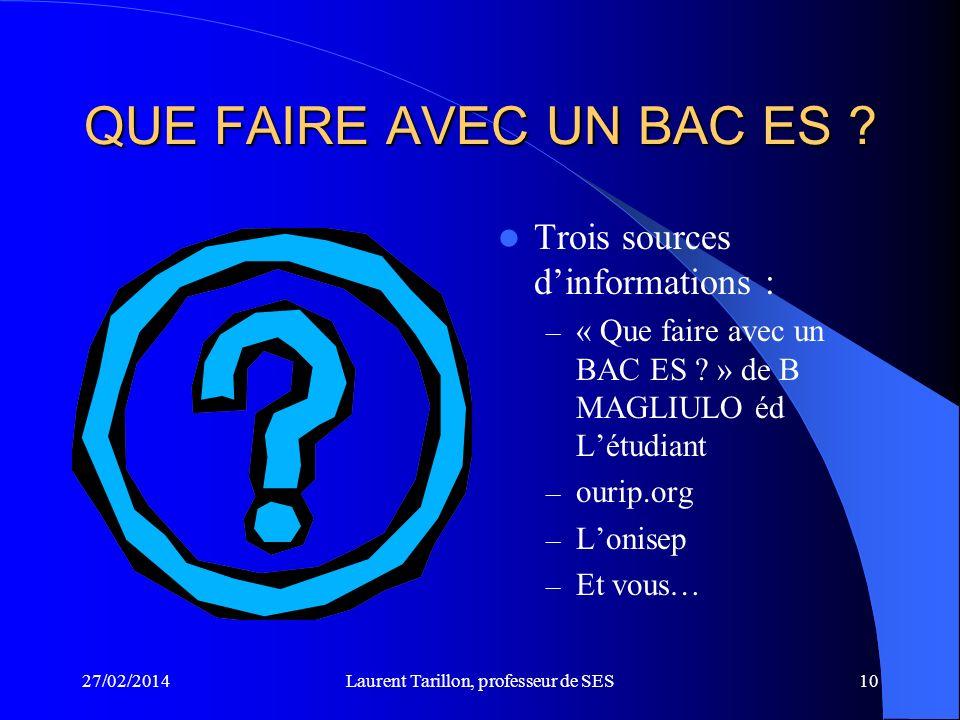 27/02/2014Laurent Tarillon, professeur de SES10 QUE FAIRE AVEC UN BAC ES .