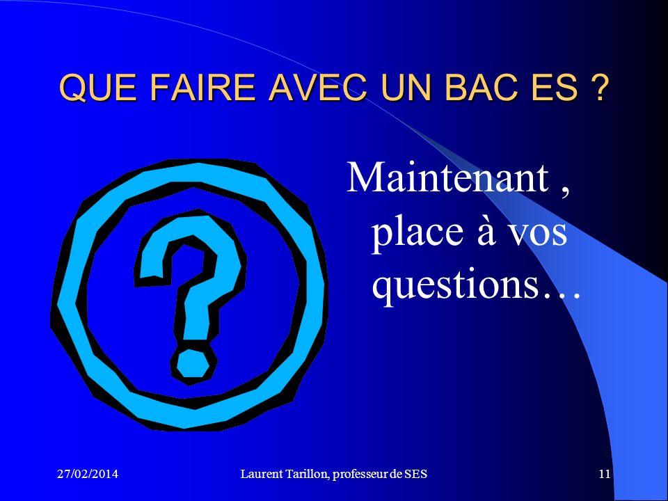 27/02/2014Laurent Tarillon, professeur de SES11 QUE FAIRE AVEC UN BAC ES .