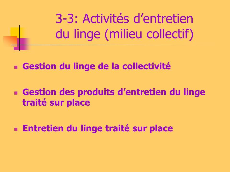 3-3: Activités dentretien du linge (milieu collectif) Gestion du linge de la collectivité Gestion des produits dentretien du linge traité sur place En