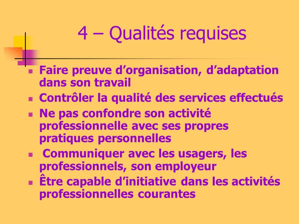 4 – Qualités requises Faire preuve dorganisation, dadaptation dans son travail Contrôler la qualité des services effectués Ne pas confondre son activi