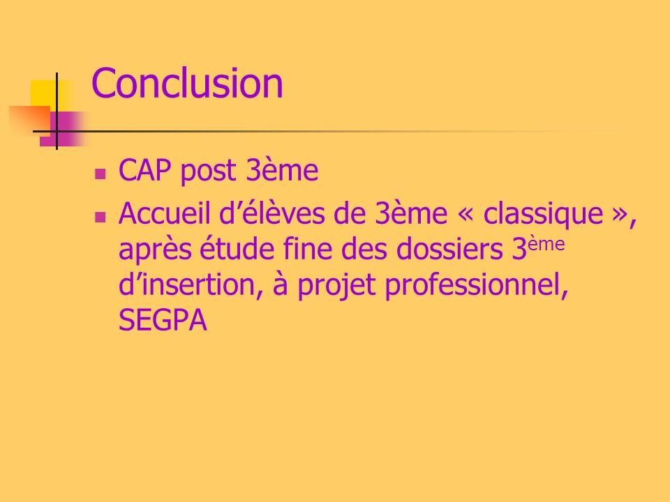 Conclusion CAP post 3ème Accueil délèves de 3ème « classique », après étude fine des dossiers 3 ème dinsertion, à projet professionnel, SEGPA