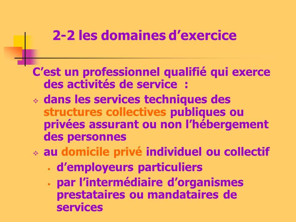 2-2 les domaines dexercice Cest un professionnel qualifié qui exerce des activités de service : dans les services techniques des structures collective