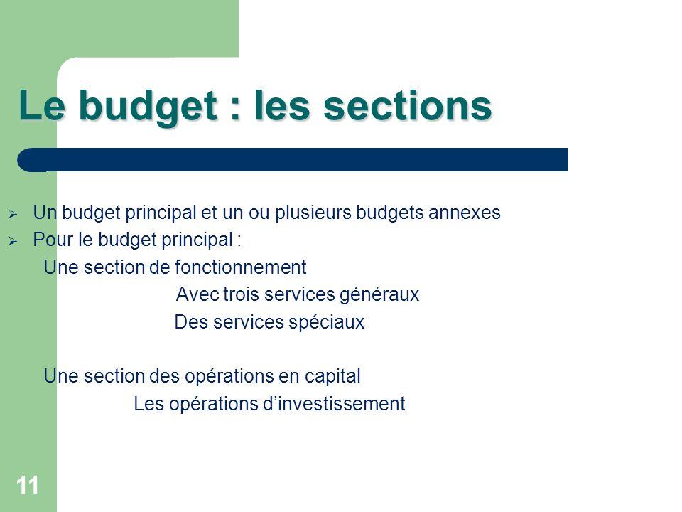 11 Le budget : les sections Un budget principal et un ou plusieurs budgets annexes Pour le budget principal : Une section de fonctionnement Avec trois