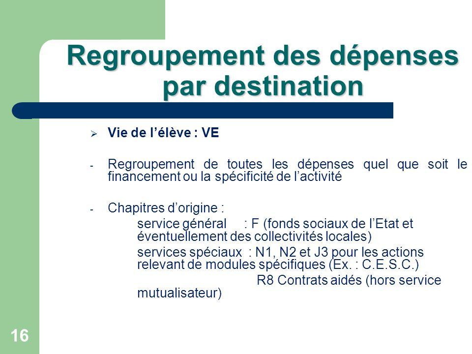 16 Regroupement des dépenses par destination Vie de lélève : VE - Regroupement de toutes les dépenses quel que soit le financement ou la spécificité d