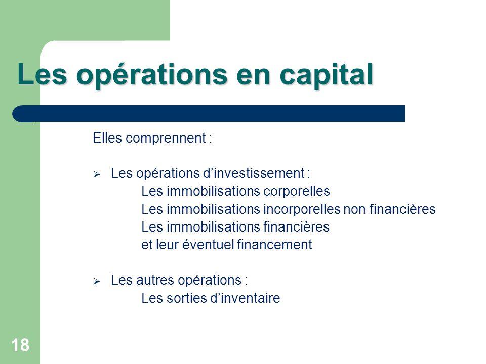 18 Les opérations en capital Elles comprennent : Les opérations dinvestissement : Les immobilisations corporelles Les immobilisations incorporelles no