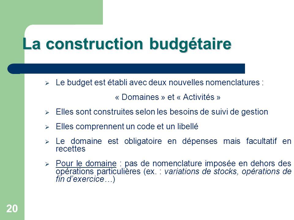 20 La construction budgétaire Le budget est établi avec deux nouvelles nomenclatures : « Domaines » et « Activités » Elles sont construites selon les