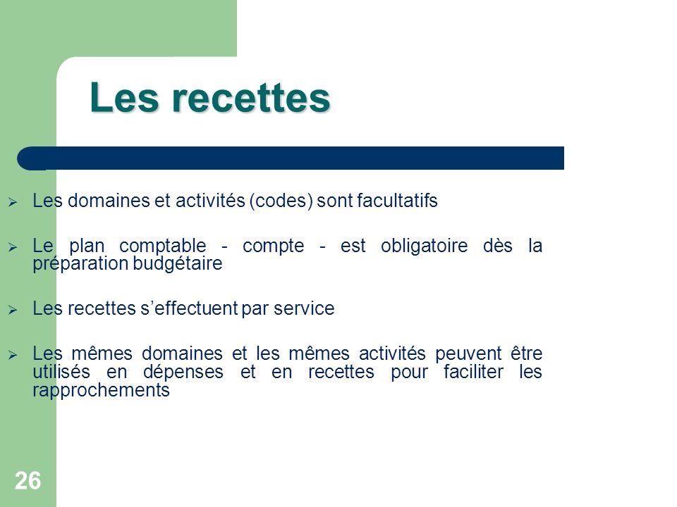 26 Les recettes Les domaines et activités (codes) sont facultatifs Le plan comptable - compte - est obligatoire dès la préparation budgétaire Les rece