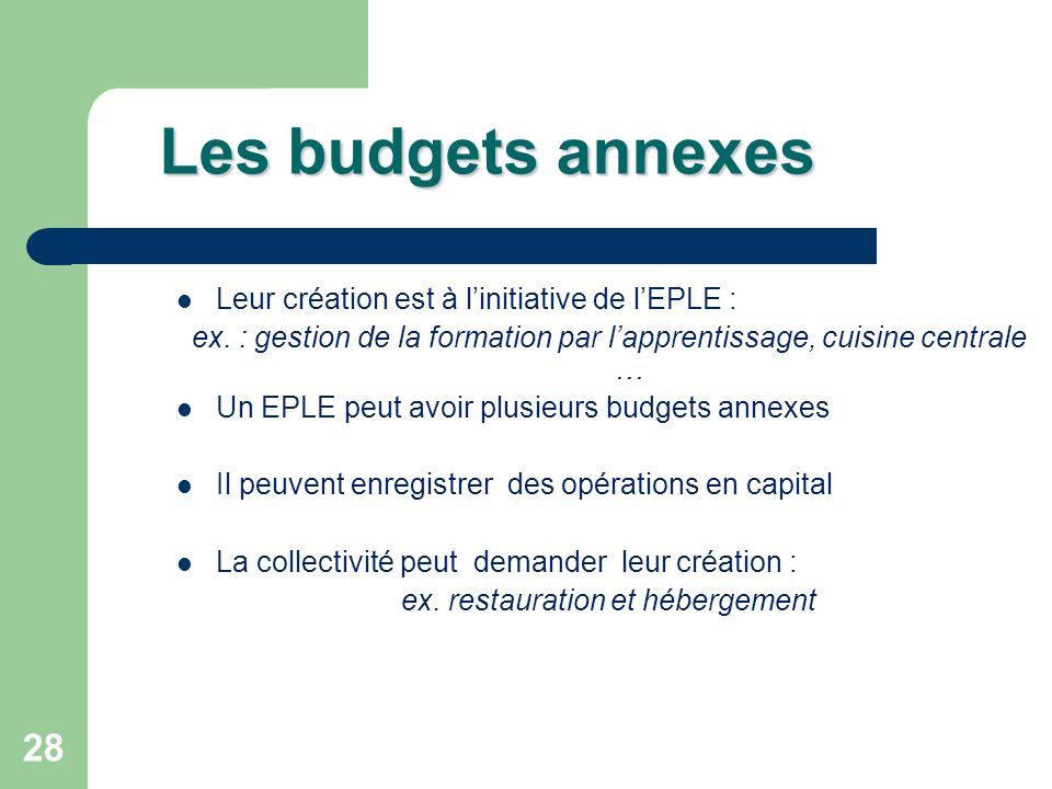 28 Les budgets annexes Leur création est à linitiative de lEPLE : ex. : gestion de la formation par lapprentissage, cuisine centrale … Un EPLE peut av