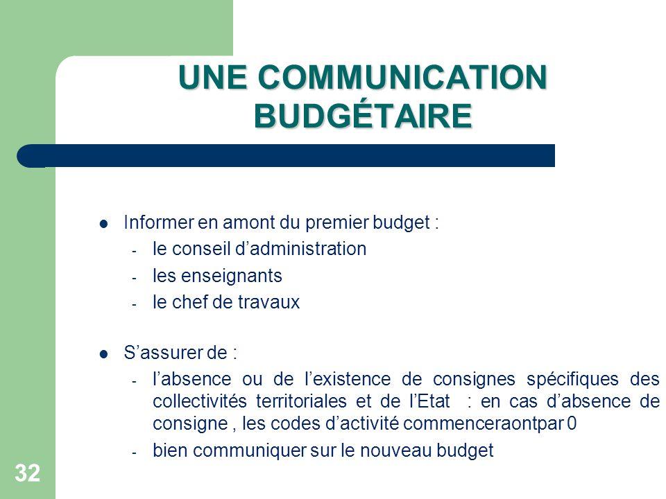 32 UNE COMMUNICATION BUDGÉTAIRE Informer en amont du premier budget : - le conseil dadministration - les enseignants - le chef de travaux Sassurer de