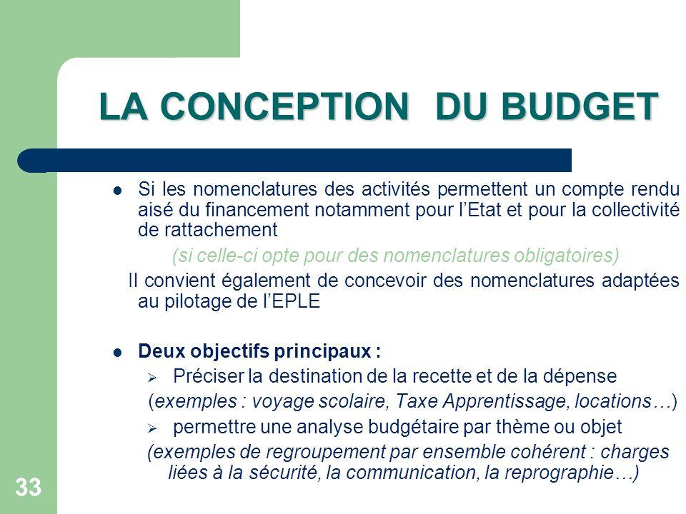 33 LA CONCEPTION DU BUDGET Si les nomenclatures des activités permettent un compte rendu aisé du financement notamment pour lEtat et pour la collectiv