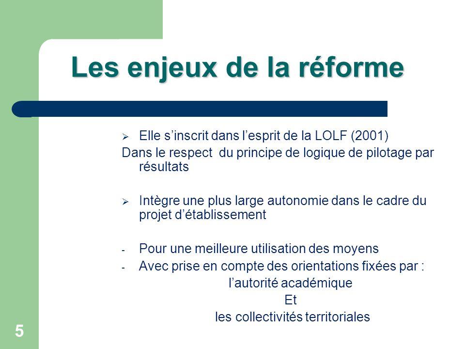 5 Les enjeux de la réforme Elle sinscrit dans lesprit de la LOLF (2001) Dans le respect du principe de logique de pilotage par résultats Intègre une p