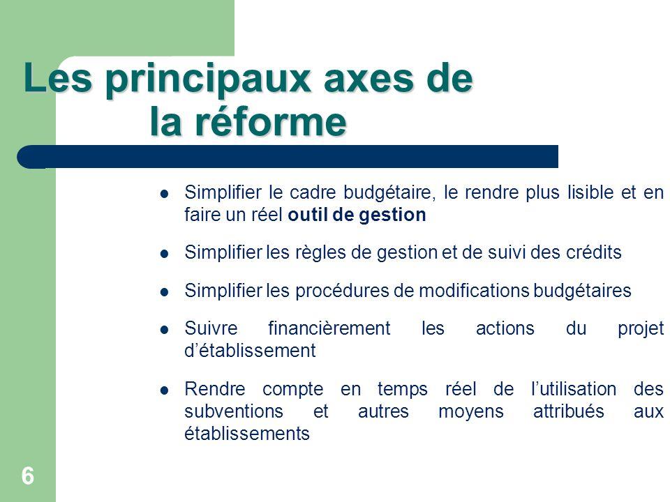 6 Les principaux axes de la réforme Simplifier le cadre budgétaire, le rendre plus lisible et en faire un réel outil de gestion Simplifier les règles