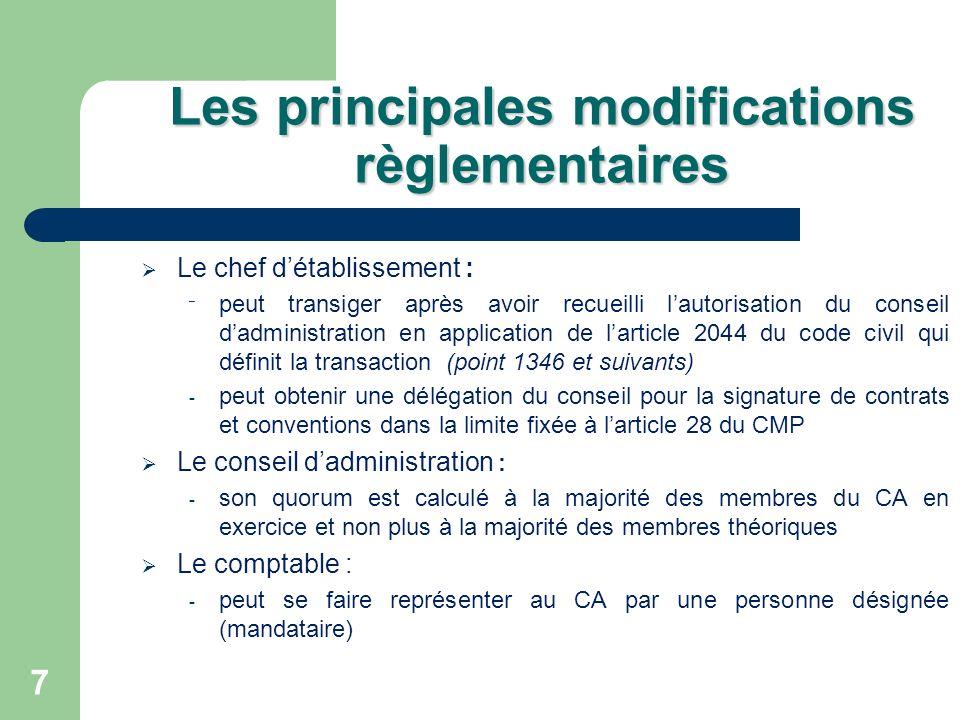 7 Les principales modifications règlementaires Le chef détablissement : ˉ peut transiger après avoir recueilli lautorisation du conseil dadministratio
