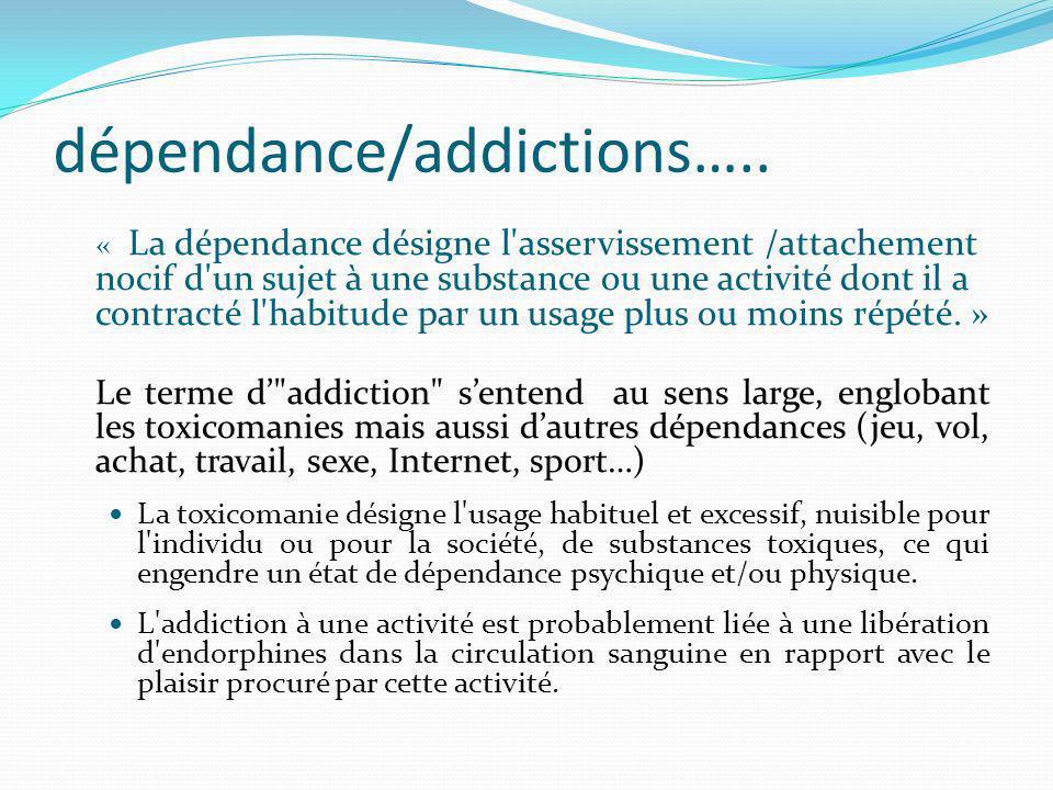 dépendance/addictions….. « La dépendance désigne l'asservissement /attachement nocif d'un sujet à une substance ou une activité dont il a contracté l'