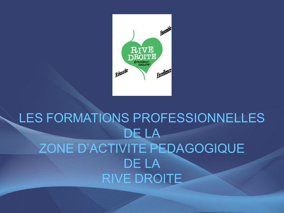 LES FORMATIONS PROFESSIONNELLES DE LA ZONE DACTIVITE PEDAGOGIQUE DE LA RIVE DROITE