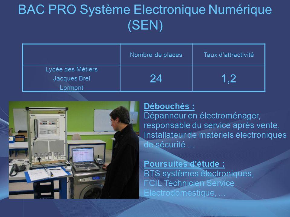 BAC PRO Système Electronique Numérique (SEN) Nombre de placesTaux dattractivité Lycée des Métiers Jacques Brel Lormont 241,2 Débouchés : Dépanneur en