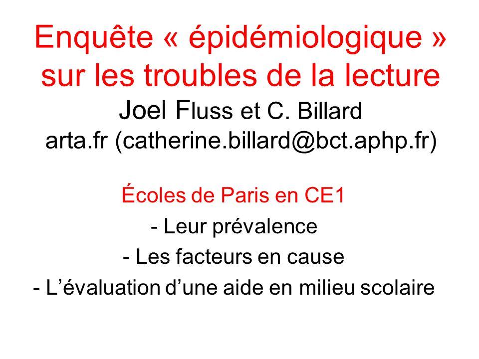 Enquête « épidémiologique » sur les troubles de la lecture Joel F luss et C. Billard arta.fr (catherine.billard@bct.aphp.fr) Écoles de Paris en CE1 -