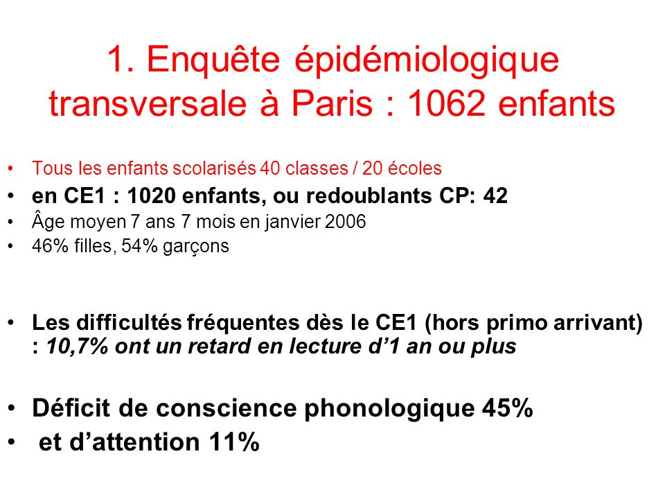 1. Enquête épidémiologique transversale à Paris : 1062 enfants Tous les enfants scolarisés 40 classes / 20 écoles en CE1 : 1020 enfants, ou redoublant